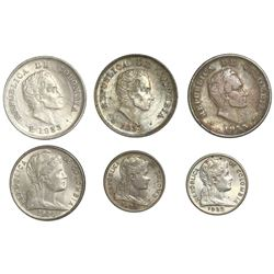 Lot of six Colombia minors: three 20 centavos 1933-B of each variety (mintmark on obverse, mintmark