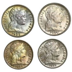 Lot of four Colombia copper-nickel minors: two 5 centavos, 1935 (one Philadelphia, one Bogota); two