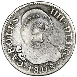 Costa Rica, 2 reales, Liberty head / ceiba tree double countermark (Type III, 1845) on a Madrid, Spa