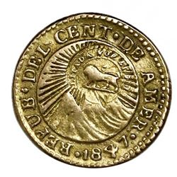 Costa Rica, gold 1/2 escudo,  lion  double countermark (Type VI, 1849-57) on a Costa Rica (Central A
