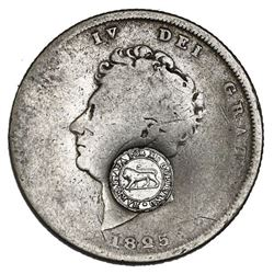 """Costa Rica, 2 reales, """"lion"""" countermark (Type VI, 1849-57) on a Great Britain shilling, George IV,"""