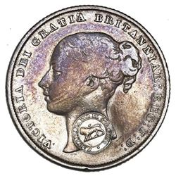 "Costa Rica, 2 reales, ""lion"" countermark (Type VI, 1849-57) on a Great Britain shilling, Victoria (y"