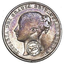 Costa Rica, 2 reales,  lion  countermark (Type VI, 1849-57) on a Great Britain shilling, Victoria (y