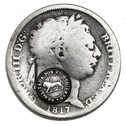"""Costa Rica, 1 real, """"lion"""" countermark (Type VI, 1849-57) on a Great Britain sixpence, George III, 1"""