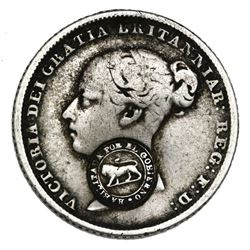 "Costa Rica, 1 real, ""lion"" countermark (Type VI, 1849-57) on a Great Britain sixpence, Victoria (you"