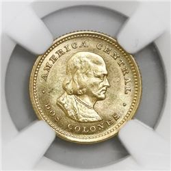 Costa Rica, gold 2 colones, 1922, NGC MS 65.