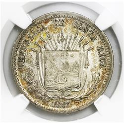 Costa Rica, 25 centavos, 1887GW,  variety with 9DS GW, NGC AU 53.