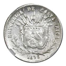 Costa Rica, 5 centavos, 1875GW, NGC AU 55.