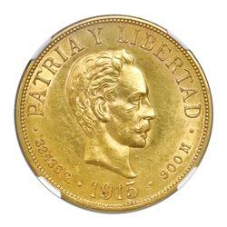 Cuba (struck at the Philadelphia mint), gold 20 pesos, 1915, NGC AU 58.