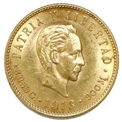 Cuba (struck at the Philadelphia mint), gold 5 pesos, 1916.