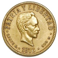 Cuba (struck at the Philadelphia mint), gold 4 pesos, 1916.