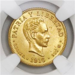 Cuba (struck at the Philadelphia mint), gold 2 pesos, 1916, NGC MS 62.