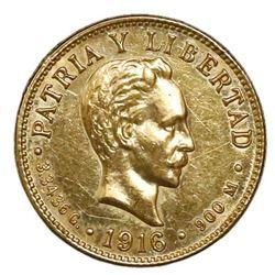 Cuba (struck at the Philadelphia mint), gold 2 pesos, 1916.