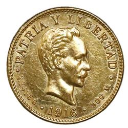 Cuba (struck at the Philadelphia mint), gold 2 pesos, 1916.