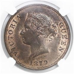 Cyprus, bronze 1/2 piastre, Victoria, 1879, NGC MS 64 BN.