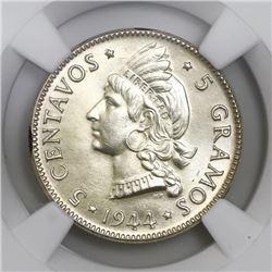 Dominican Republic, 5 centavos, 1944, NGC MS 64, ex-P.H. Davis.