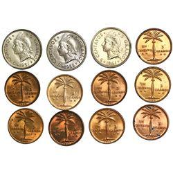Lot of twelve Dominican Republic minors: copper-nickel 5 centavos, 1951, 1959, 1961; bronze 1 centav