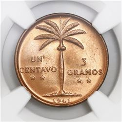 Dominican Republic, 1 centavo, 1941, NGC MS 66 RD.