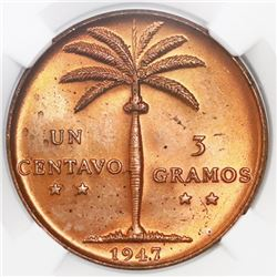 Dominican Republic, 1 centavo, 1947, NGC MS 65 RD.