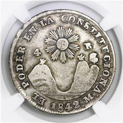 Quito, Ecuador, 4 reales, 1842MV, NGC VF 25.