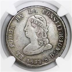 Quito, Ecuador, 4 reales, 1857GJ, NGC VF 20.