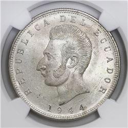 Ecuador (struck in Mexico City), 5 sucres, 1944, NGC MS 65.