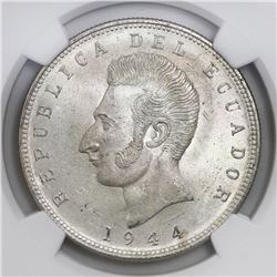 Ecuador (struck in Mexico City), 5 sucres, 1944, NGC MS 65.