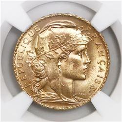 "France (Paris mint), gold 20 francs, 1910, ""Rooster,"" NGC MS 64."