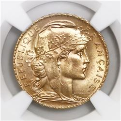 "France (Paris mint), gold 20 francs, 1910, ""Rooster,"" NGC MS 64."