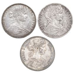 Lot of three Frankfurt (German States) talers: 1858, 1860, and 1864.