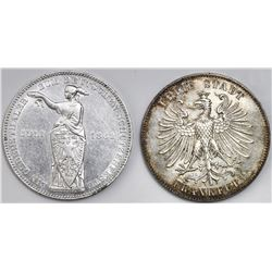 Lot of two Frankfurt (German States) talers: 1859, Centennial of the Birth of Schiller; 1862 Shootin