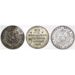 Lot of three Hamburg (German States) coins: 5 mark, 1876-J; 5 mark, 1903-J, 32 schillings, 1808.