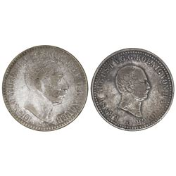 Lot of two Hannover (German States) talers of Ernst August: 1838-A, 1845-A.