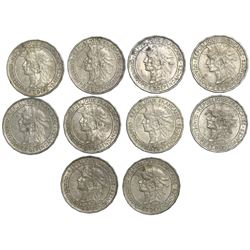 Lot of ten Guadeloupe 1 francs, 1921.