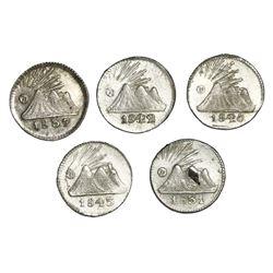 Lot of five Guatemala (Central American Republic) 1/4R: 1831, 1837/6, 1840/30, 1842/37, 1843.