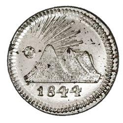 Guatemala (Central American Republic), silvered copper 1/4 real, 1844.
