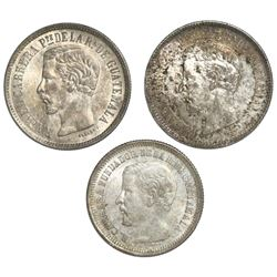 Lot of three Guatemala 2 reales: 1860R, 1861R, 1867R.