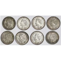 Lot of eight Guatemala 1R: 1860R (three), 1861, 1863R, 1864R, 1865R (two).