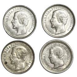 Lot of four Guatemala 1R: 1862R, 1863R, 1864R, 1868R.