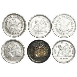 Lot of six Guatemala 1R: 1872P, 1874P, 1883, 1889, 1891, 1893.