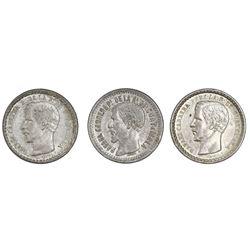 Lot of three Guatemala 1/2R: 1860R, 1862R, 1865R.