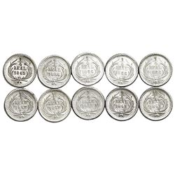 Lot of ten Guatemala 1/4R: 1863, 1864, 1866 (three), 1867 (two), 1868, 1869 (two).