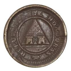 Honduras, bronze 1 centavo, 1910, denomination 1 over 1/2.