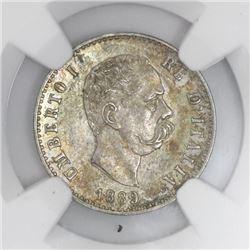 Rome, Italy, 50 centesimi, Umberto I, 1889-R, NGC MS 61.