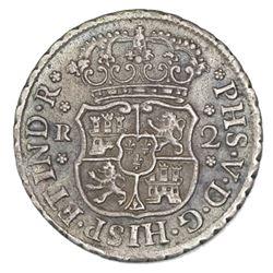 Mexico City, Mexico, pillar 2 reales, Philip V, 1744M, ex-Potomac.