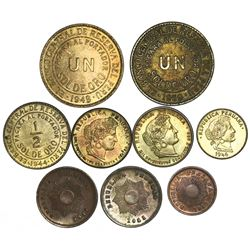 Lot of nine Peru minors: two brass 1 sol, 1949/8, 1950; one brass 1/2 sol 1944; two copper-nickel 20