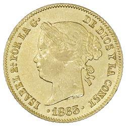 Philippines (under Spain), gold 4 pesos, Isabel II, 1863.