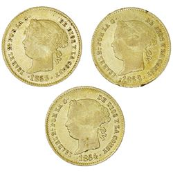 Lot of three Philippines (under Spain), gold 2 pesos, Isabel II: 1862, 1863, 1864.