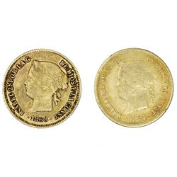 Lot of two Philippines (under Spain), gold 1 pesos, Isabel II: 1861 and 1868.