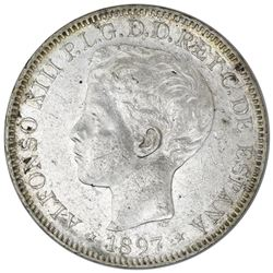 Philippines (under Spain), 1 peso, Alfonso XIII, 1897SG-V.